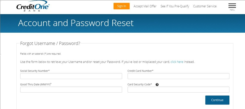 Credit One Password Reset