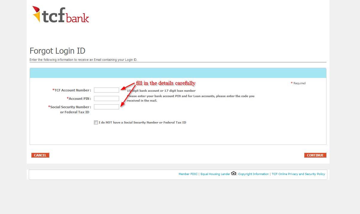 TCF Bank Login Reset Passwords