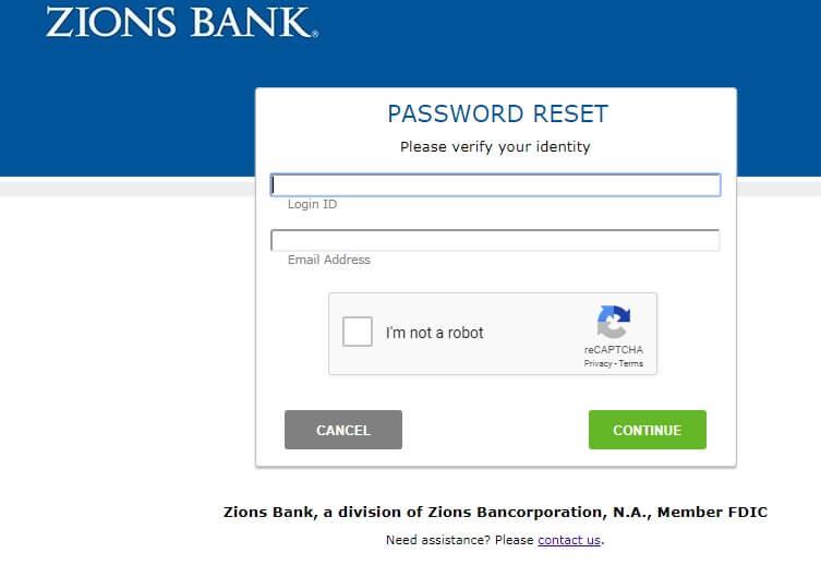 Zions Bank Reset Passwords