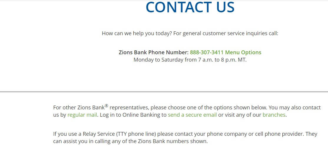 Zions Bank Contact Us