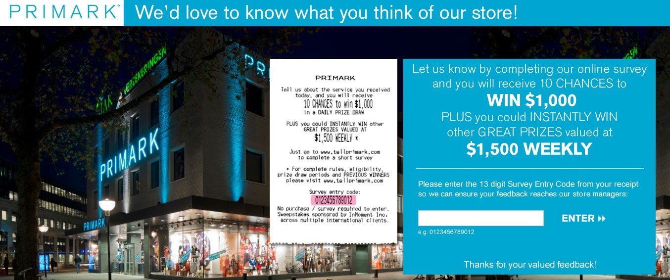 www.tellprimark.co.uk survey