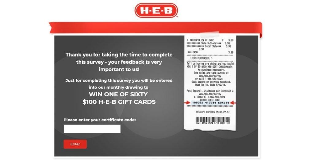 www.HEB.com Survey
